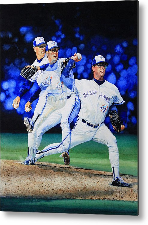 Sports Art Metal Print featuring the painting Triple Play by Hanne Lore Koehler