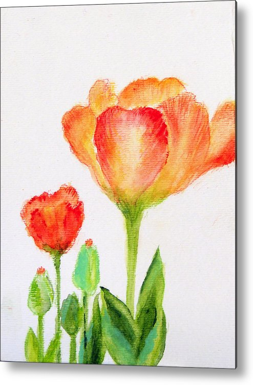 Floral Metal Print featuring the painting Tulips Orange And Red by Ashleigh Dyan Bayer