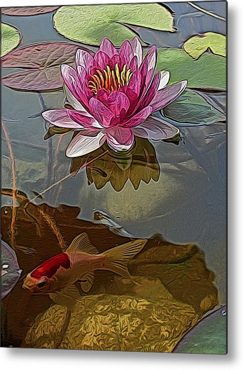 Water Garden Metal Print featuring the digital art View Below by Jen Brooks Art