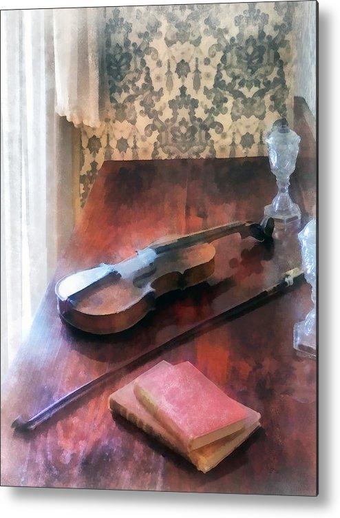 Violin Metal Print featuring the photograph Violin On Credenza by Susan Savad