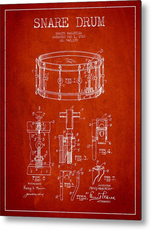 Snare Drum Metal Print featuring the digital art Waechtler Snare Drum Patent Drawing From 1910 - Red by Aged Pixel