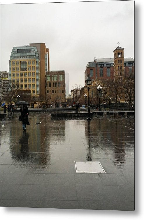 Rain Metal Print featuring the photograph Washington Square Park by Penelope Murray