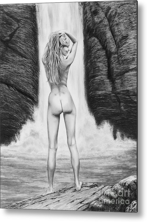 Waterfall Metal Print featuring the drawing Waterfall Pin Up Girl by Murphy Elliott
