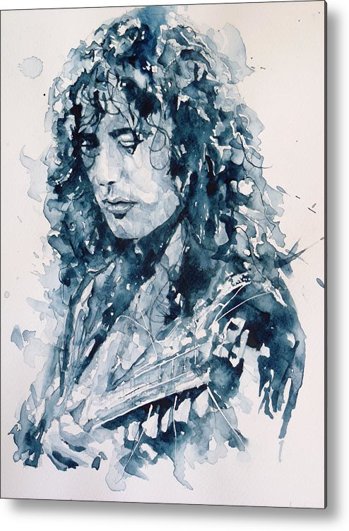 Led Zeppelin Metal Print featuring the painting Whole Lotta Love Jimmy Page by Paul Lovering
