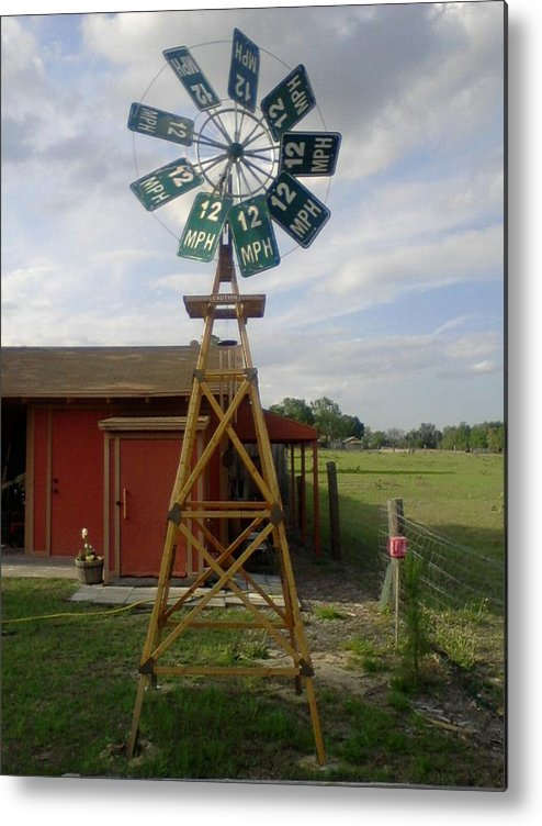 Windmill Metal Print featuring the photograph Windmill Speed Sign Posted by Edward Pebworth