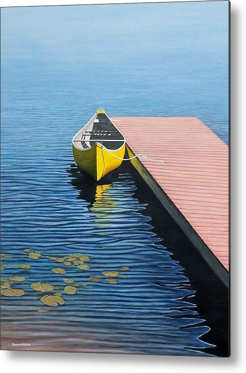 Landscape Paintings Metal Print featuring the painting Yellow Canoe by Kenneth M Kirsch
