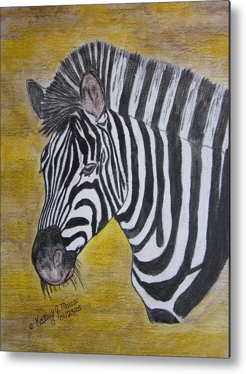 Zebra Metal Print featuring the painting Zebra Portrait by Kathy Marrs Chandler