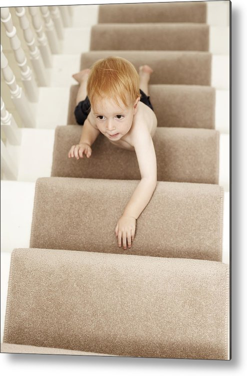 Human Metal Print featuring the photograph Boy Climbing Stairs by Ian Boddy