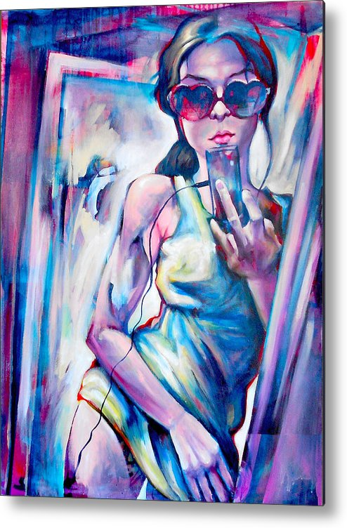 Modern Contemporary Fine Art Girl Sunglasses Cell Phone Metal Print featuring the photograph Queen Of Hearts by Khalid Hussein