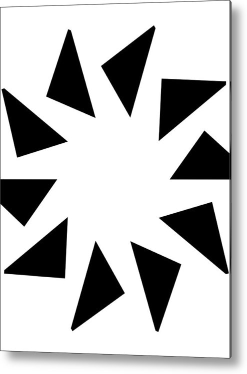 Form Forms Black White Triangle Geometric Abstract Art Minimalism Spiral Digital Painting Metal Print featuring the digital art 10 by Steve K
