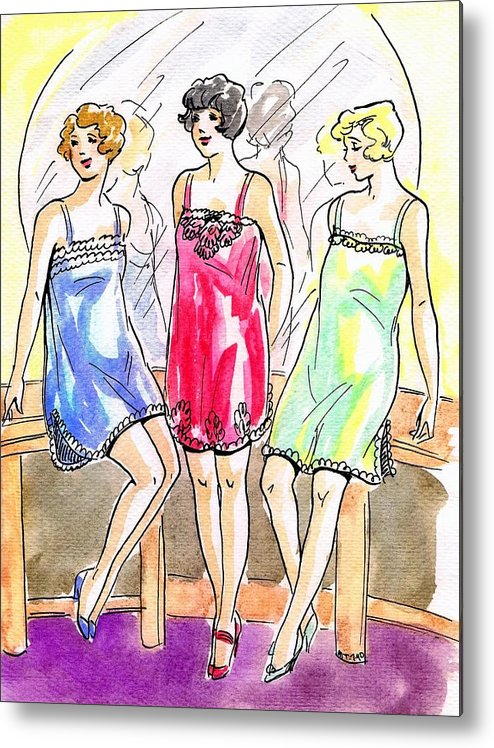 Nostalgia Metal Print featuring the drawing 1920s Teddies by Mel Thompson