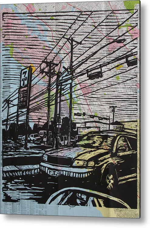 Lino Metal Print featuring the drawing Burnet Road by William Cauthern