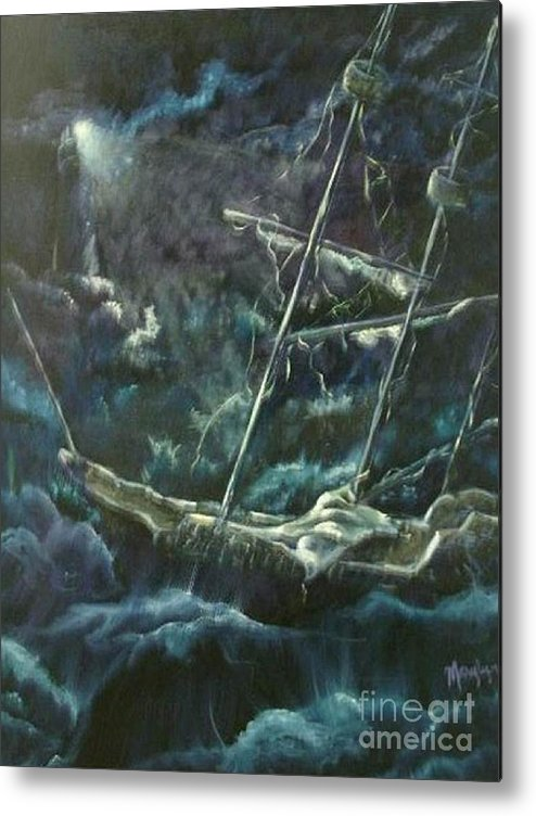 Ship At Sea Metal Print featuring the painting Surviving The Storm by Marylyn Wiedmaier