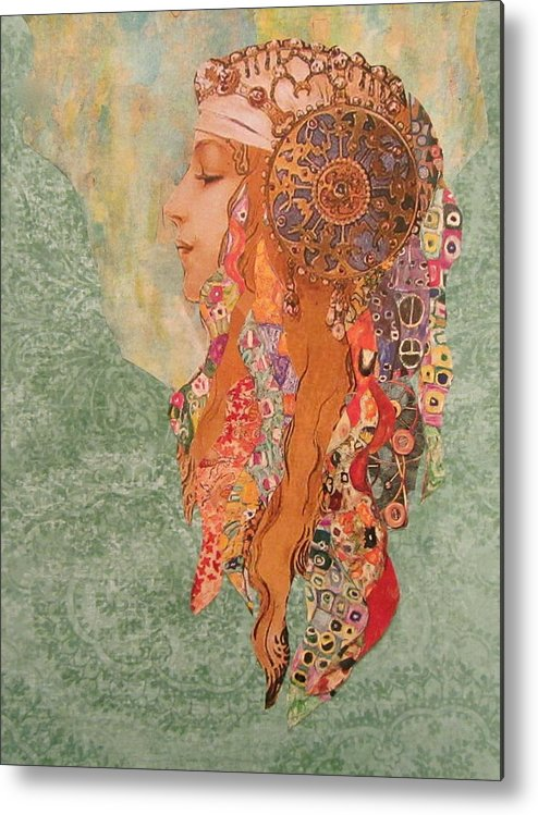 Collage Metal Print featuring the mixed media Amira by Kanchan Mahon