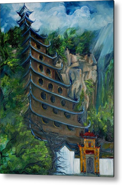 China Metal Print featuring the painting Chinese Hanging Temple by Jennifer Christenson