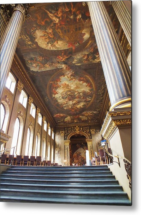 Painted Hall Metal Print featuring the photograph Dining Hall At Royal Naval College by Anna Villarreal Garbis