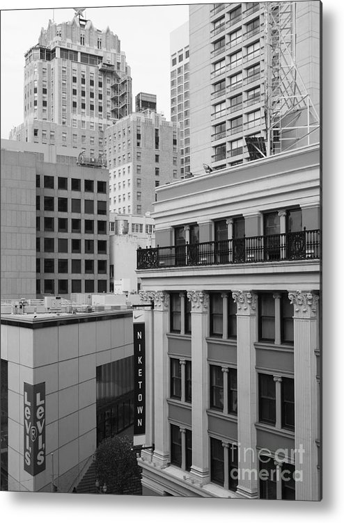 San Francisco Metal Print featuring the photograph Downtown San Francisco Buildings - 5d19323 - Black And White by Wingsdomain Art and Photography