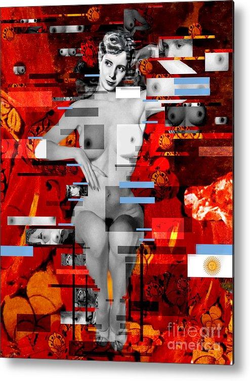 Eva Peron Metal Print featuring the painting Eva Peron Nude En Rouge by Karine Percheron-Daniels