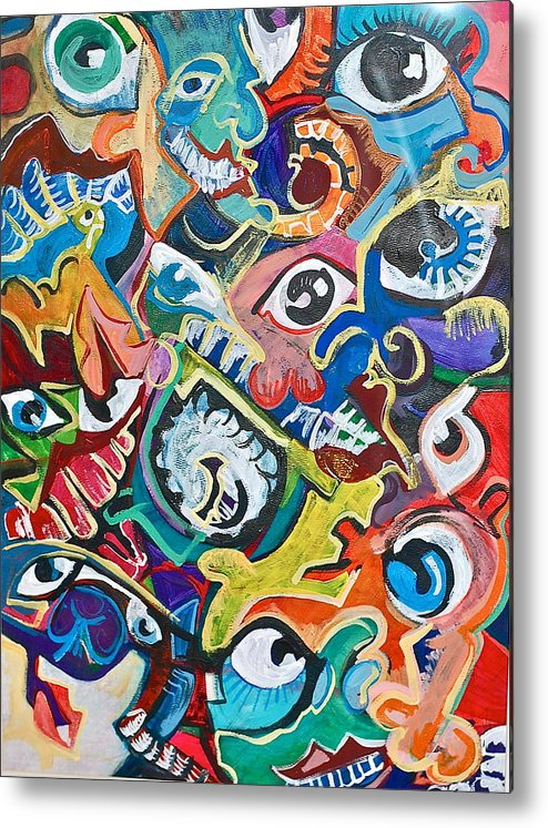 Eye Metal Print featuring the painting Faces In A Crowd by Jame Hayes