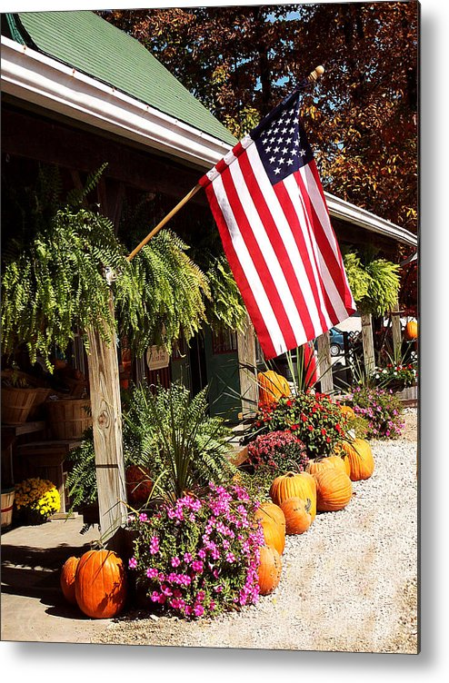 Flag Metal Print featuring the photograph Flag Among The Pumpkins by Judith Lawhon
