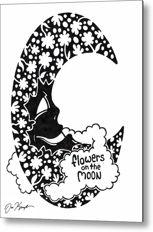 Flower Metal Print featuring the drawing Flowers On The Moon by Dan Keough
