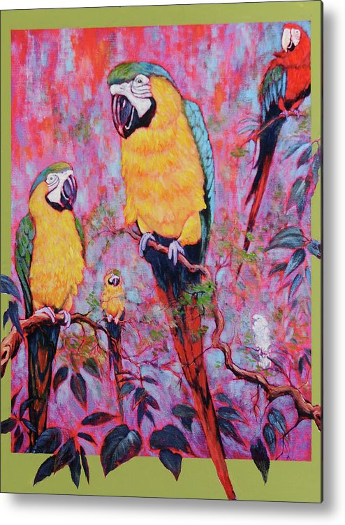 Rain Forest Metal Print featuring the painting Captive Souls Dreaming Of Home by Charles Munn