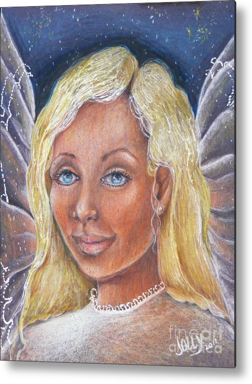 Portrait Metal Print featuring the drawing Guardian Angel by Jane Jolly Chappell