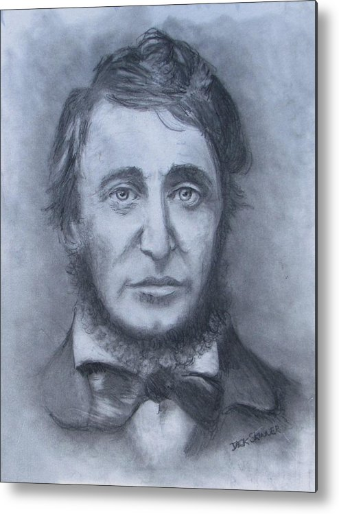 Henry David Thoreau Metal Print featuring the drawing Henry David Thoreau by Jack Skinner
