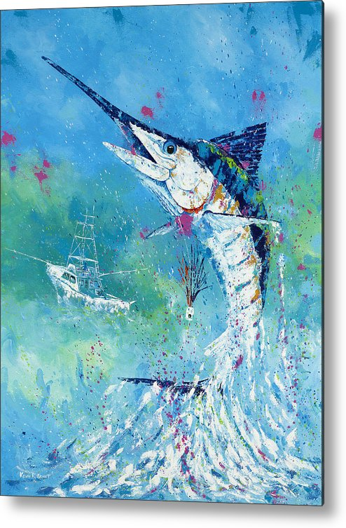 Blue Marlin Metal Print featuring the painting Hook Up by Kevin Brant