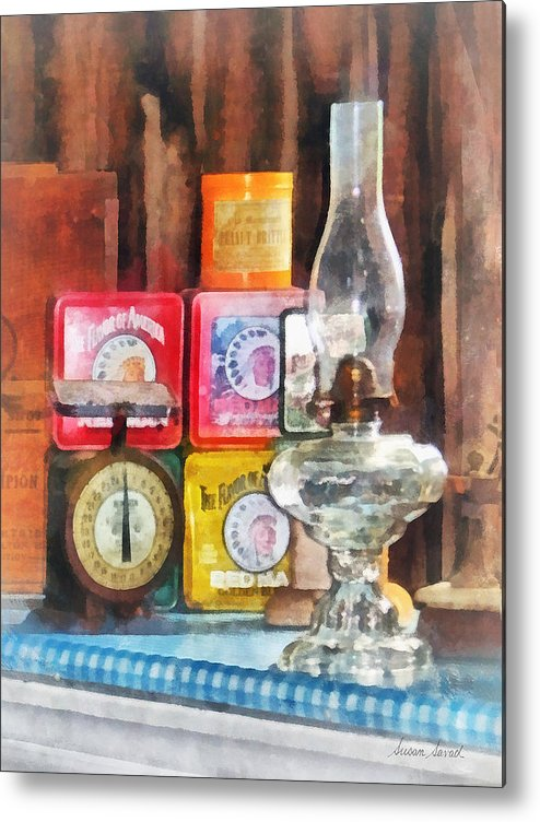 Lamp Metal Print featuring the photograph Hurricane Lamp And Scale by Susan Savad