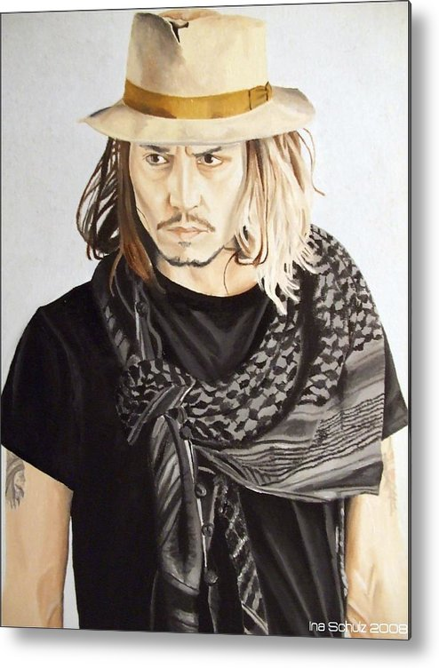 Johnny Depp - Hat And Scarf Metal Print by Ina Schulz 8539f122de2a
