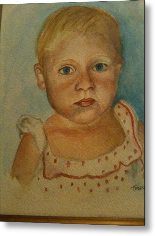 She Wasn't A Happy Camper Either. Metal Print featuring the painting Laura Beth by Teresa Wright