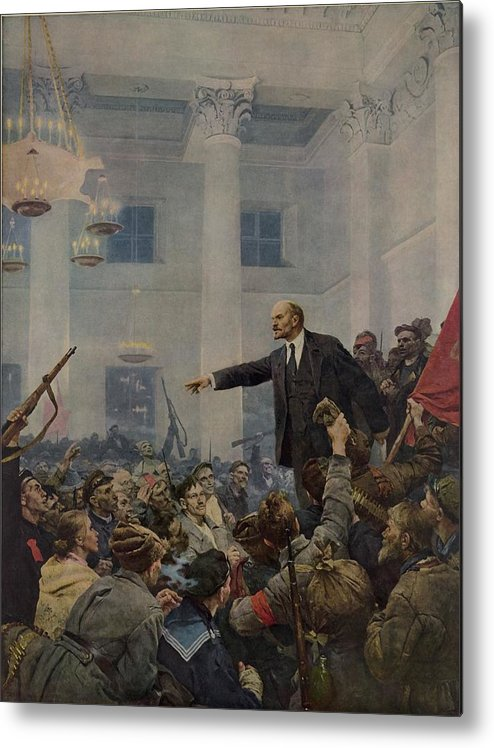 History Metal Print featuring the photograph Lenin 1870-1924 Declaring Power by Everett