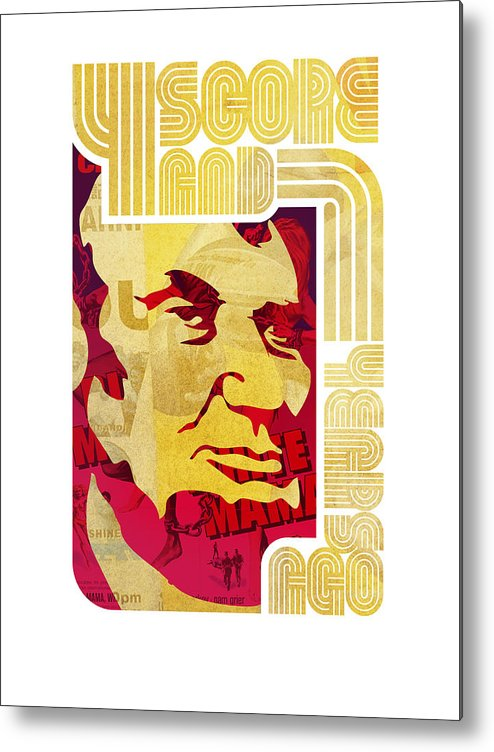 Typography Metal Print featuring the drawing Lincoln 4 Score On White by Jeff Steed