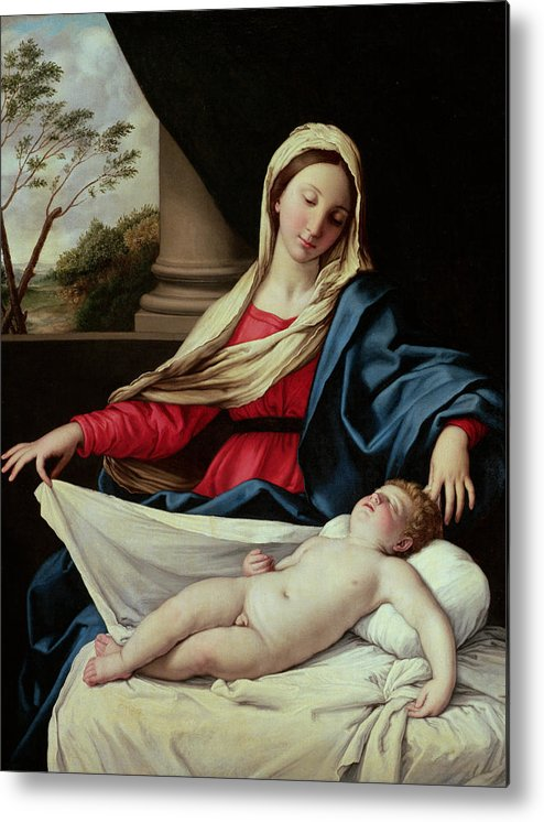 Madonna And Child Metal Print featuring the painting Madonna And Child by II Sassoferrato