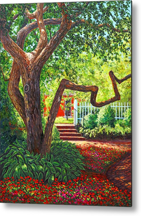 Red Metal Print featuring the painting Prescott Park Tree, Portsmouth, Nh by Elaine Farmer