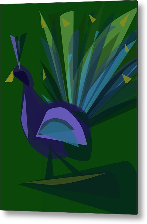 Vector Metal Print featuring the digital art Peacock by Betsey Walker Culliton