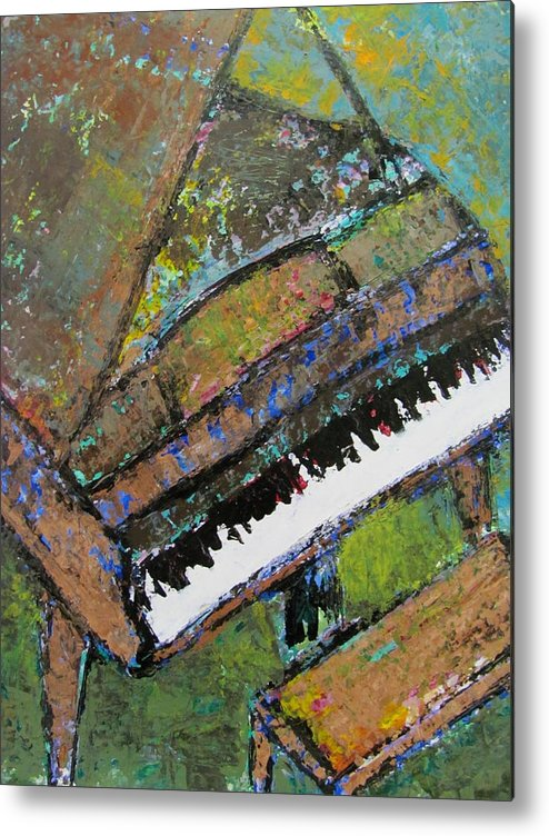 Music Metal Print featuring the painting Piano Aqua Wall - Cropped by Anita Burgermeister