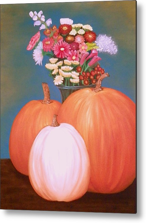 Pumpkin Metal Print featuring the painting Pumpkin by Amity Traylor