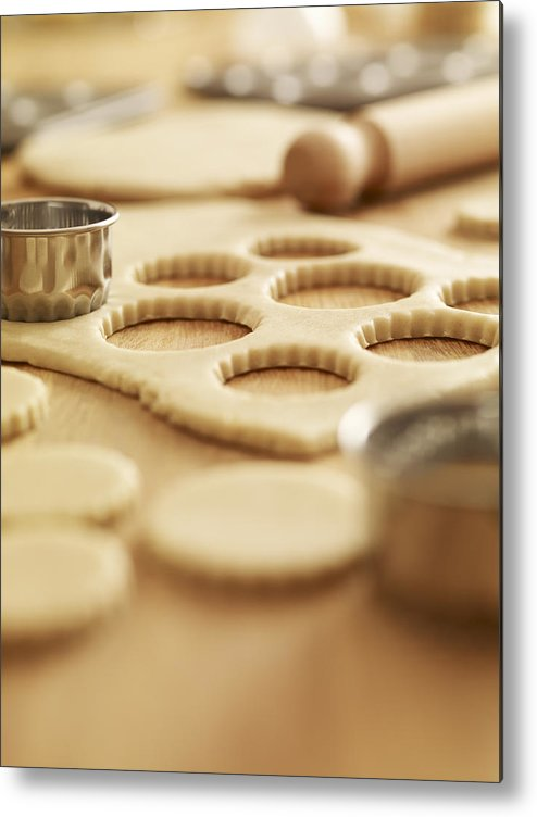 Vertical Metal Print featuring the photograph Scalloped Cookie Cutters And Sugar Cookie Dough by Adam Gault
