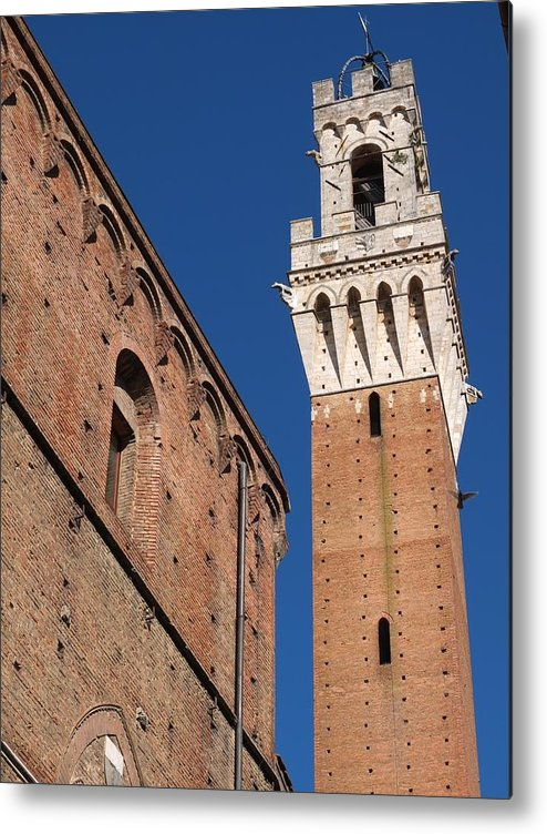 Vertical Metal Print featuring the photograph Siena, Torre Del Mangia by Lysvik Photos