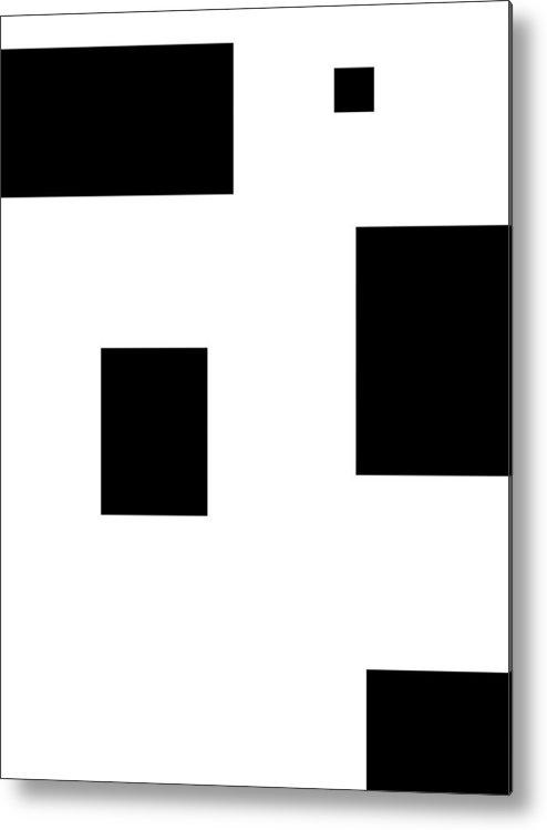 Black White Abstract Block Blocks Contrast Expressionism Impressionism Art Metal Print featuring the digital art Simply Black Blocks Sbb by Steve K