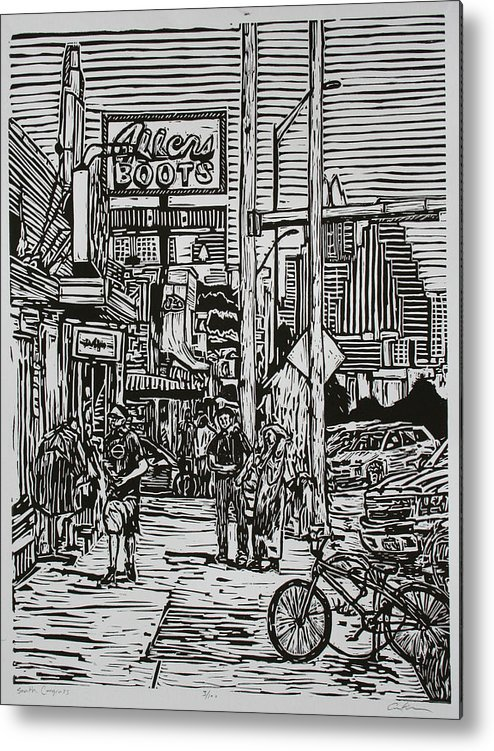 Austin Metal Print featuring the drawing South Congress by William Cauthern