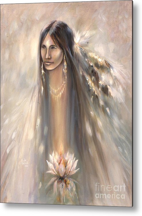 Spirit Metal Print featuring the mixed media Spirit Woman by Charles B Mitchell