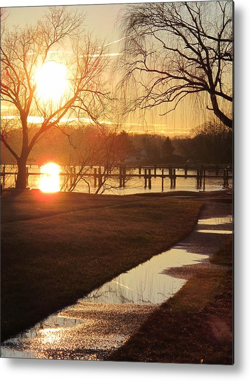 Nature Metal Print featuring the photograph Sunset After The Rain by Valia Bradshaw