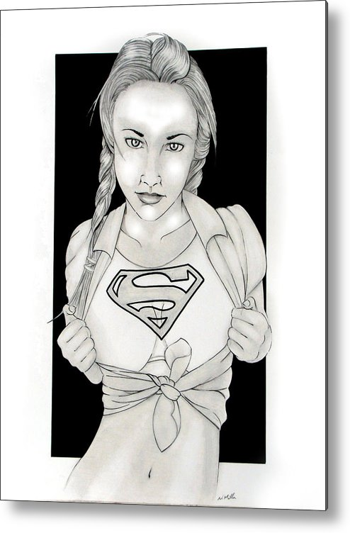 Dc Comics Metal Print featuring the drawing Supergirl by Nathan Miller