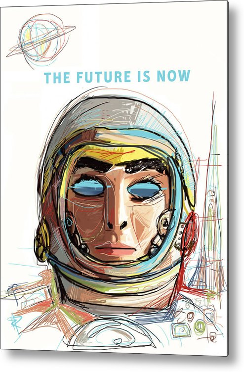 Astronaut Metal Print featuring the mixed media The Future Is Now by Russell Pierce