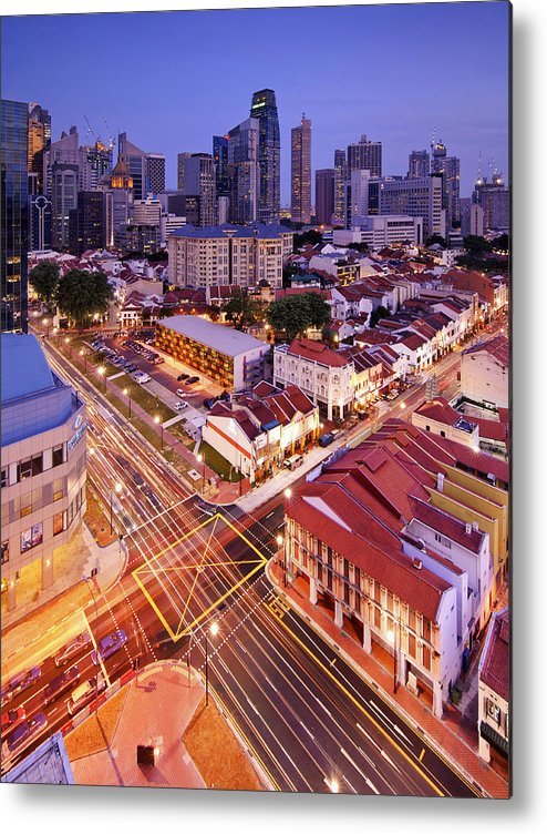Vertical Metal Print featuring the photograph Towers And Shophouses by (C) Jonathan Chiang/Scintt