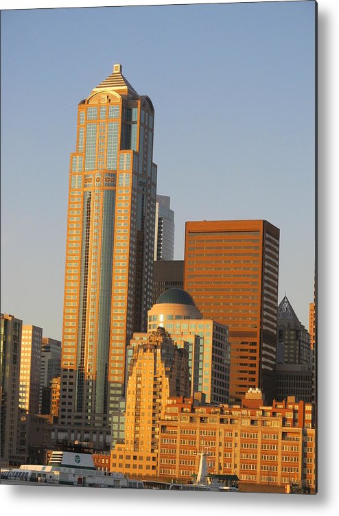 Seatlle Waterfront Metal Print featuring the photograph Towers by Anita Stewart