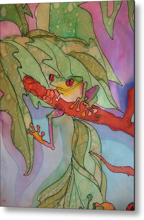 Metal Print featuring the tapestry - textile Tree Frog Series by Yvonne Feavearyear